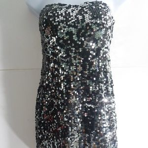 As U Wish Black Sequined Strapless Dress S